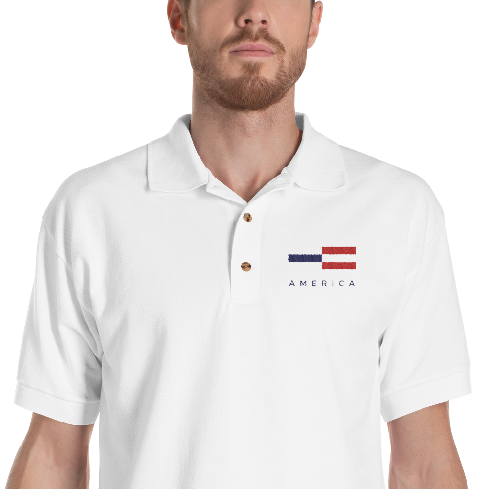 S America Tower Pattern Embroidered Polo Shirt by Design Express