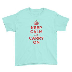 Teal Ice / S Keep Calm and Carry On (Red) Youth Short Sleeve T-Shirt by Design Express
