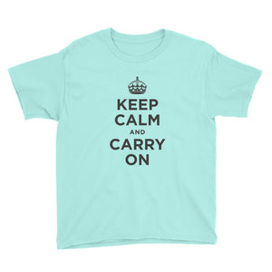 Teal Ice / S Keep Calm and Carry On (Black) Youth Short Sleeve T-Shirt by Design Express