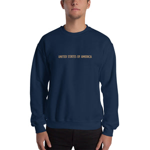 Navy / S United States Of America Eagle Illustration Reverse Gold Backside Sweatshirt by Design Express