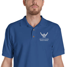"Royal / S United States Space Force ""Reverse"" Embroidered Polo Shirt by Design Express"