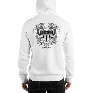 United States Of America Eagle Illustration Backside Hooded Sweatshirt by Design Express