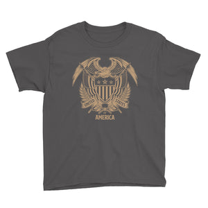 Charcoal / XS United States Of America Eagle Illustration Gold Reverse Youth Short Sleeve T-Shirt by Design Express