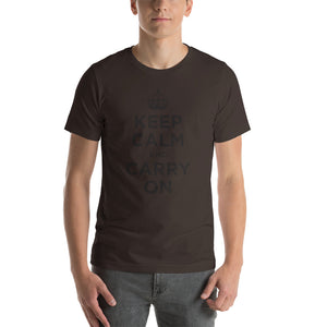 Brown / S Keep Calm and Carry On (Black) Short-Sleeve Unisex T-Shirt by Design Express