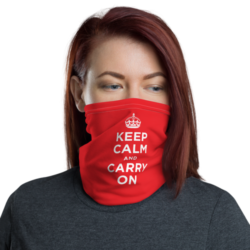 Red Keep Calm & Carry On Face & Neck Gaiter