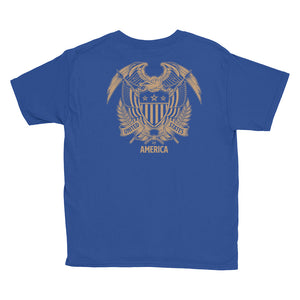 United States Of America Eagle Illustration Reverse Gold Backside Youth Short Sleeve T-Shirt by Design Express