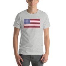 "Athletic Heather / S United States Flag ""Solo"" Short-Sleeve Unisex T-Shirt by Design Express"
