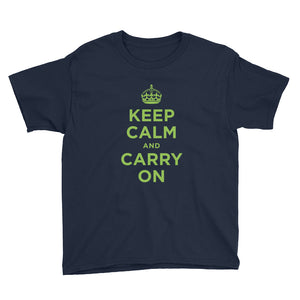 Navy / XS Keep Calm and Carry On (Green) Youth Short Sleeve T-Shirt by Design Express
