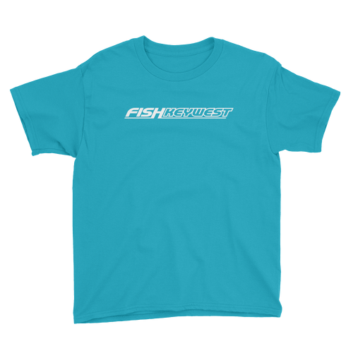 Caribbean Blue / XS Fish Key West Youth Short Sleeve T-Shirt by Design Express