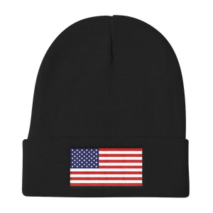 "Black United States Flag ""Solo"" Knit Beanie by Design Express"