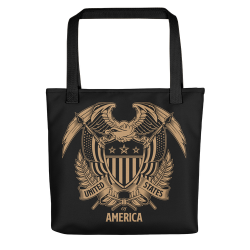 Black United States Of America Eagle Illustration Reverse Gold Tote bag Totes by Design Express