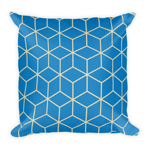 Diamonds Blue Square Premium Pillow