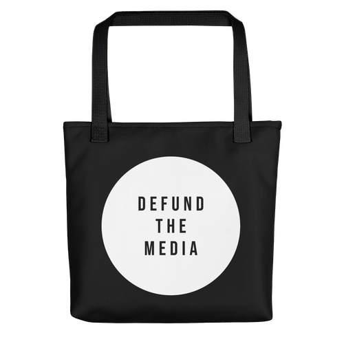 Defund The Media Circle Black Tote bag