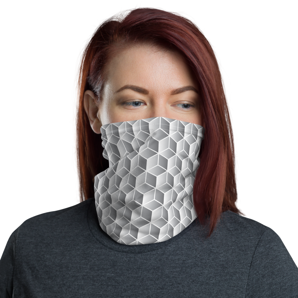 Default Title Diamond Grey Gradient Block Pattern Neck Gaiter Masks by Design Express