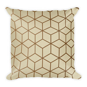 Default Title Diamonds Cream Gold Square Premium Pillow by Design Express