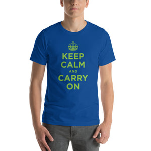 True Royal / S Keep Calm and Carry On (Green) Short-Sleeve Unisex T-Shirt by Design Express