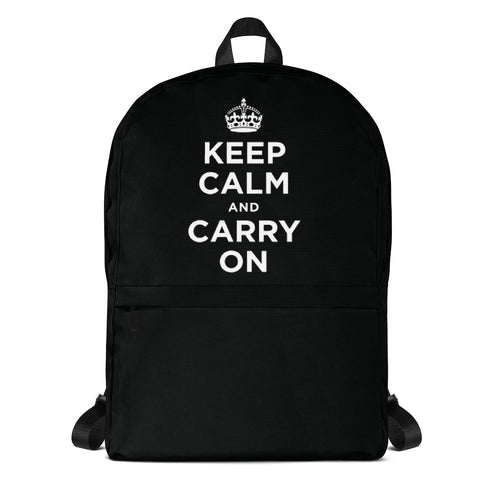 Default Title Keep Calm And Carry On (Black White) Backpack by Design Express