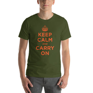 Olive / S Keep Calm and Carry On (Orange) Short-Sleeve Unisex T-Shirt by Design Express
