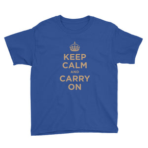 Royal Blue / XS Keep Calm and Carry On (Gold) Youth Short Sleeve T-Shirt by Design Express