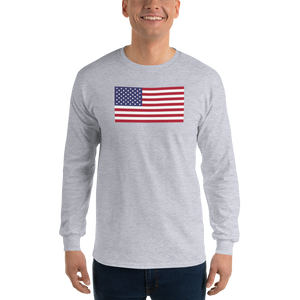 "Sport Grey / S United States Flag ""Solo"" Long Sleeve T-Shirt by Design Express"