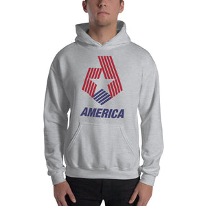 "Sport Grey / S America ""Star & Stripes"" Hooded Sweatshirt by Design Express"