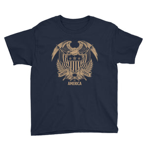 Navy / XS United States Of America Eagle Illustration Gold Reverse Youth Short Sleeve T-Shirt by Design Express