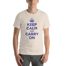 Soft Cream / S Keep Calm and Carry On (Navy Blue) Short-Sleeve Unisex T-Shirt by Design Express