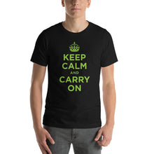 Black / XS Keep Calm and Carry On (Green) Short-Sleeve Unisex T-Shirt by Design Express