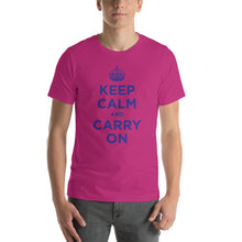 Berry / S Keep Calm and Carry On (Navy Blue) Short-Sleeve Unisex T-Shirt by Design Express