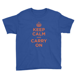 Royal Blue / XS Keep Calm and Carry On (Orange) Youth Short Sleeve T-Shirt by Design Express