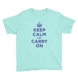 Teal Ice / S Keep Calm and Carry On (Navy Blue) Youth Short Sleeve T-Shirt by Design Express