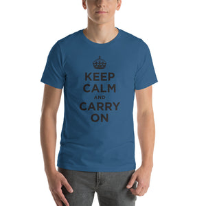 Steel Blue / S Keep Calm and Carry On (Black) Short-Sleeve Unisex T-Shirt by Design Express