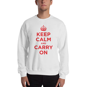 White / S Keep Calm and Carry On (Red) Unisex Sweatshirt by Design Express