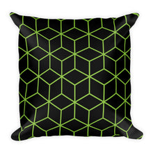 Diamonds Black Green Square Premium Pillow by Design Express