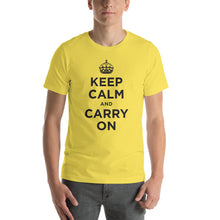 Yellow / S Keep Calm and Carry On (Black) Short-Sleeve Unisex T-Shirt by Design Express
