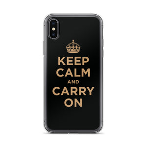 iPhone X/XS Keep Calm and Carry On (Black Gold) iPhone Case iPhone Cases by Design Express