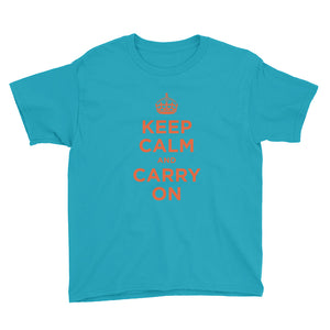 Caribbean Blue / XS Keep Calm and Carry On (Orange) Youth Short Sleeve T-Shirt by Design Express