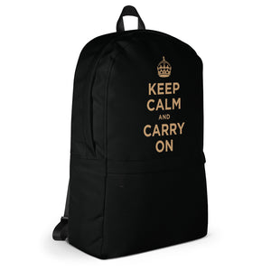 Keep Calm And Carry On (Black Gold) Backpack by Design Express