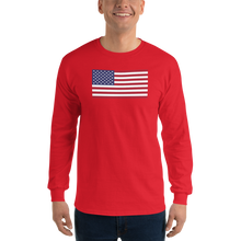 "Red / S United States Flag ""Solo"" Long Sleeve T-Shirt by Design Express"