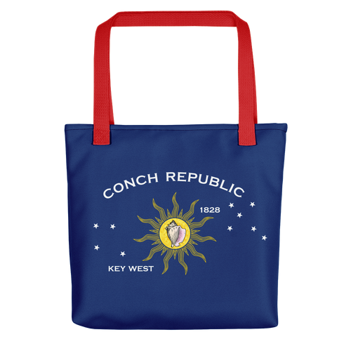 Red Key West Conch Republic Flag Allover Print Tote bag Totes by Design Express