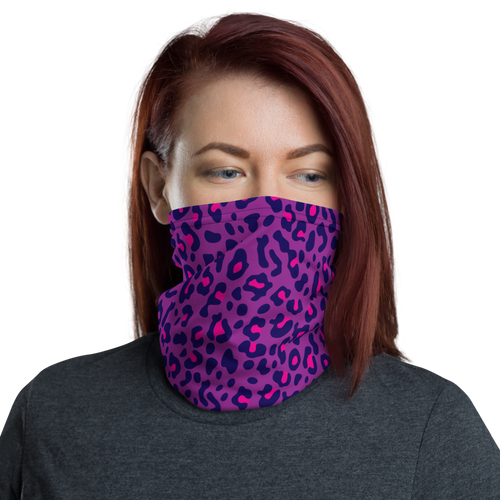 Default Title Purple Leopard Print Neck Gaiter Masks by Design Express