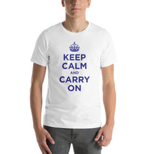 White / XS Keep Calm and Carry On (Navy Blue) Short-Sleeve Unisex T-Shirt by Design Express