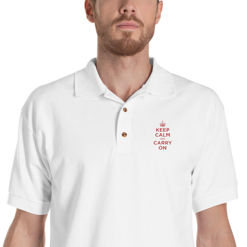 White / S Keep Calm and Carry On (Red Embroidered) Polo Shirt by Design Express