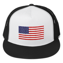 "Black/ White/ Black United States Flag ""Solo"" Trucker Cap by Design Express"