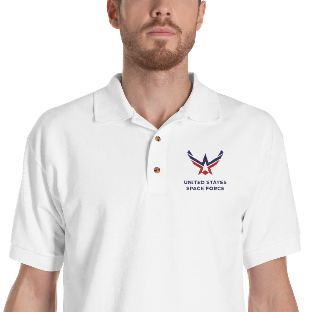 White / S United States Space Force Embroidered Polo Shirt by Design Express