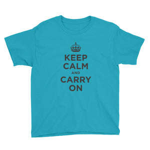 Caribbean Blue / XS Keep Calm and Carry On (Black) Youth Short Sleeve T-Shirt by Design Express