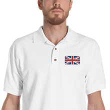 "White / S United Kingdom Flag ""Solo"" Embroidered Polo Shirt by Design Express"