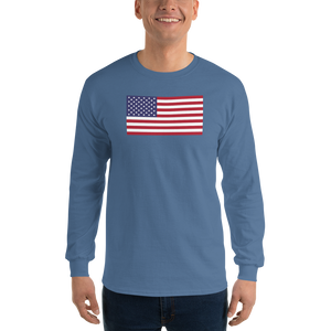 "Indigo Blue / S United States Flag ""Solo"" Long Sleeve T-Shirt by Design Express"
