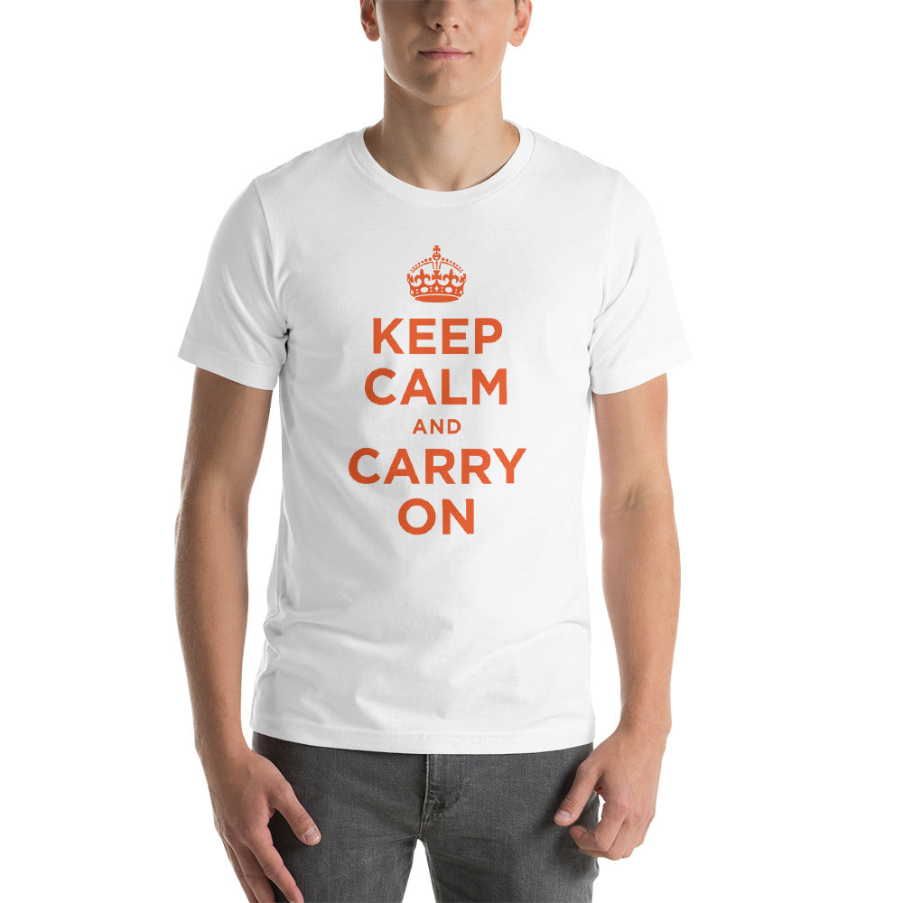 White / XS Keep Calm and Carry On (Orange) Short-Sleeve Unisex T-Shirt by Design Express