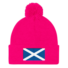 "Neon Pink Scotland Flag ""Solo"" Pom Pom Knit Cap by Design Express"